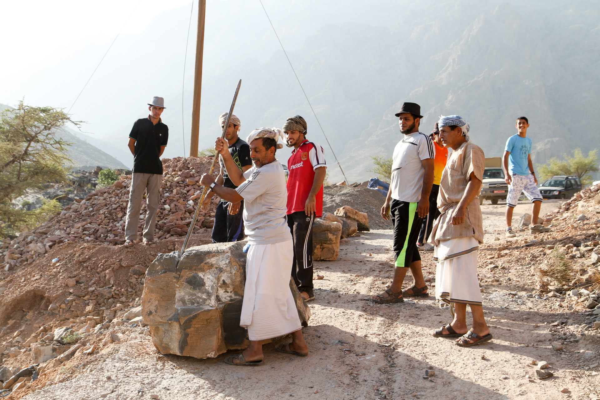 Hajdar Mountains - Villagers doing roadwork near the village of Bilad Sayd.