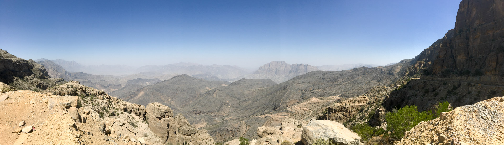 After a crazy ascend we are slowly leaving valley - the road can be seen on the far right.
